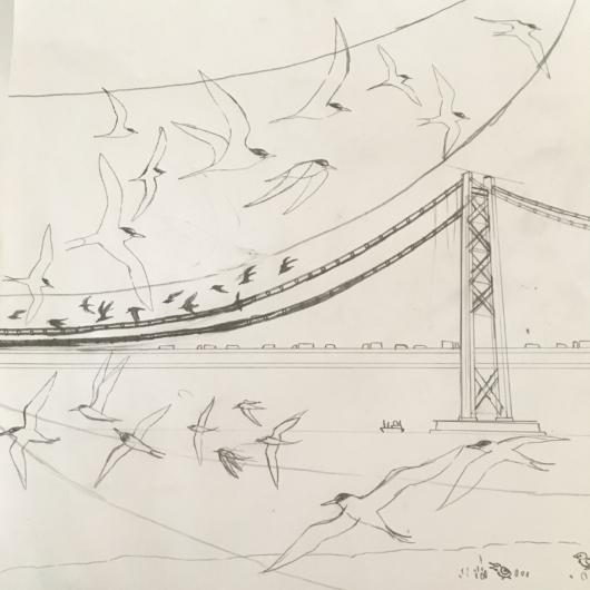 明石海峡大橋のラフ