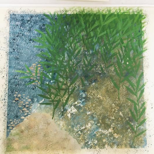 スポンジの塗りの上にヨシ原を描いています。