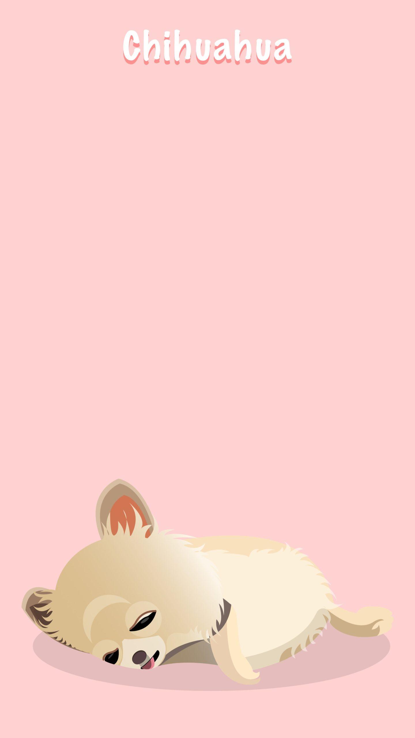 横たわるロングコートチワワのイラスト壁紙(赤色)