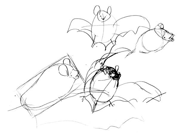 コテングコウモリの描き方ーどうにも上手く行かず狂う