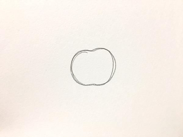 スポンジでリンゴを描いてみる~型の図案を描く~