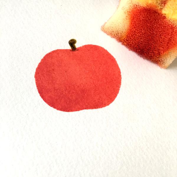 スポンジでリンゴを描いてみる~スポンジでリンゴが描けた~